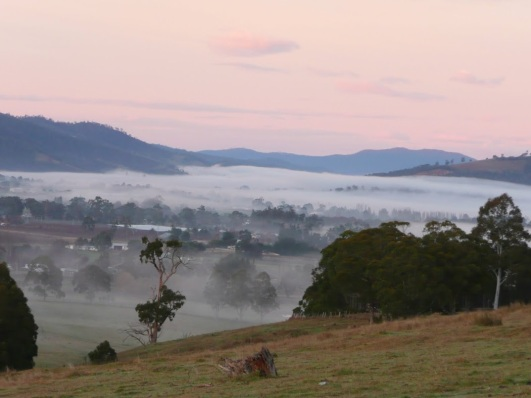 Huonville covered in mist